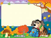Autumn frame with dog and schoolbag - eps10 vector illustration.