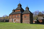 old wooden church in open-air museum Pirogovo. Kiev, Ukraine