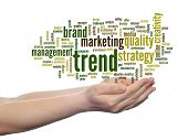 Concept or conceptual abstract business trend and marketing word cloud or wordcloud in man or woman
