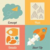 Set of start up icons for new business, ideas, innovation and development. Rocket and paper airplane