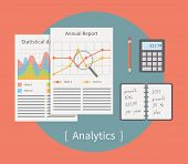 Analytic vector illustration. Business template with charts and graphs. Flat vector.