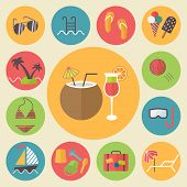 Summer and vacation icons set, flat design vector illustration.