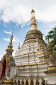 White Pagoda Of Buddhist Temple In Chiang Mai, Thailand