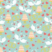 Vintage Wedding Seamless Pattern Set.hearts, Swans,cake,rings