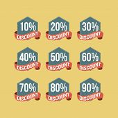 Flat Vintage Discount Badges