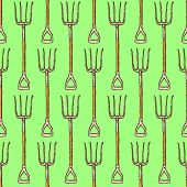 Sketch Garden Fork, Vector  Seamless Pattern