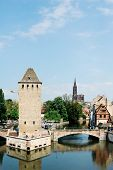 Pont Couverts And Cathedral In Strasbourg, France