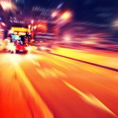 Abstract image of bus in motion blur in the city.