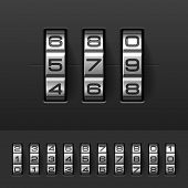 Combination, code lock numbers. Vector.