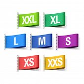 Color clothing tags with sizes. Vector.