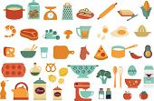 Food icons and illustrations - vector collection. Make your own illustrated recipe card