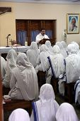 KOLKATA, INDIA - FEBRUARY 07: Sisters of The Missionaries of Charity of Mother Teresa at Mass in the