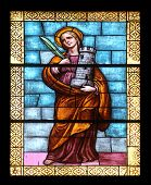 PORT AZZURRO, ELBA, ITALY - MAY 03: Saint Barbara, stained glass in the church of St. James the Grea