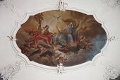 SCHMERLENBACH, GERMANY - JULY 19: Holy Trinity fresco painting in Sanctuary of St. Agatha in Schmerl