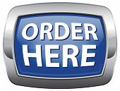 Order here blue vector icon buy now button for online internet webshop