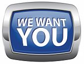 We want you blue vector icon job vacancy help wanted search employees for jobs opening find worker f