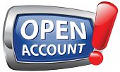 open account blue vector icon membership subscription and registration