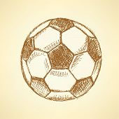 Sketch Football Balll, Vector Vintage Background