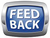 feed back vector icon, feed back from customer and testimonials blue vector icon