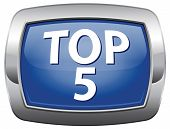 top 5 charts blue vector icon list pop poll button result and award winners chart ranking music hits