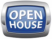Open house vector icon blue sign banner or placard for renting or buying a new home visit a real est