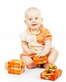 Merry baby with colorful gifts
