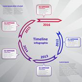 Timeline infographic with arrow and cloud
