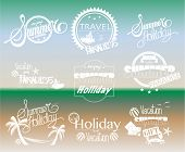 Group of Summer Labels on Gradient Background