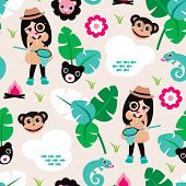 Seamless kids zoo illustration jungle theme for girls with lion lizard and monkey background pattern