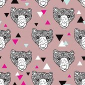 Seamless grizzly bear doodle illustration and geometric detail background pattern in vector