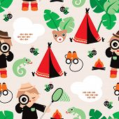Seamless boys jungle safari adventure background pattern illustration in vector