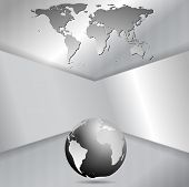 Abstract metal tech vector background with globe and map