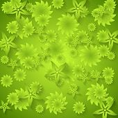 Abstract green floral pattern. Vector background