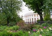Parliament Of Ukraine (verkhovna Rada) In Kiev, Ukraine In Green Environment