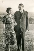 GERMANY, CIRCA THIRTIES - Vintage photo of couple outdoor
