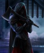 image of dread head  - Executioner standing with axe on castle background - JPG
