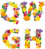 Vector colorful flower font. Raster version of illustration.