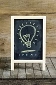 Light Blub Chalkboard Drawing on wooden background