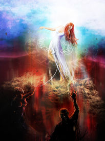stock photo of underworld  - Goddess fighting demons with sorcery and magic - JPG
