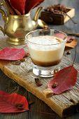 Coffee Cortado And Autumn Leaves.
