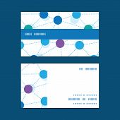 Vector connected dots horizontal stripe frame pattern business cards set