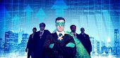 Superhero Businessmen Cityscape Stock Market Team Concept