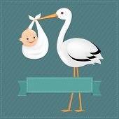 Poster Stork With Baby Boy With Gradient Mesh, Vector Illustration