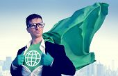 Global Strong Superhero Success Professional Empowerment Stock Concept