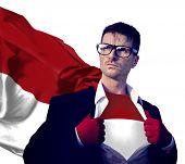 Businessman Superhero Country Indonesia Flag Culture Power Concept