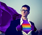 Rainbow Strong Superhero Success Professional Empowerment Stock Concept