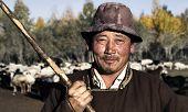Portrait of mongolian man famer.