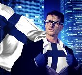 Businessman Superhero Country Finland Flag Culture Power Concept