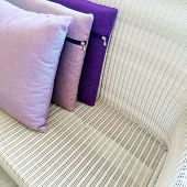 Purple Cushions Decorating Rattan Sofa