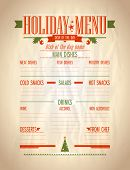 Holiday list of dishes, Christmas vintage menu on a paper with place for text. Eps10